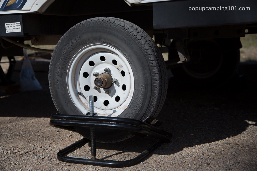 BAL tire leveler on a popup camper