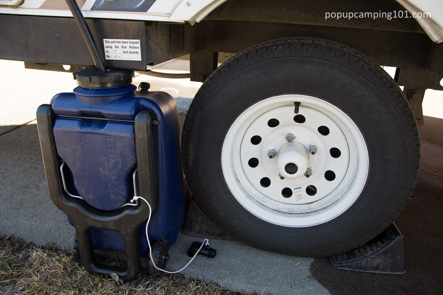 Hydroller used as grey water tank for popup camper