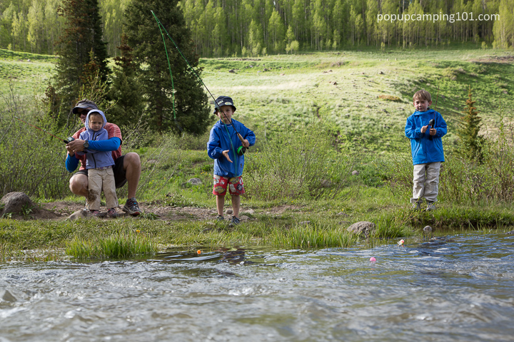 kids fishing during a popup camping trip