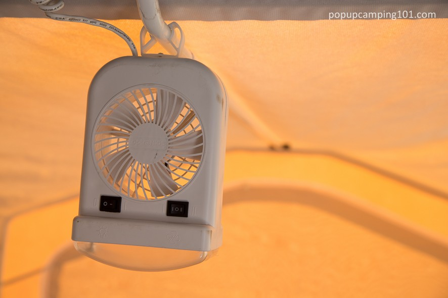 bunk end fan and light combo in popup camper