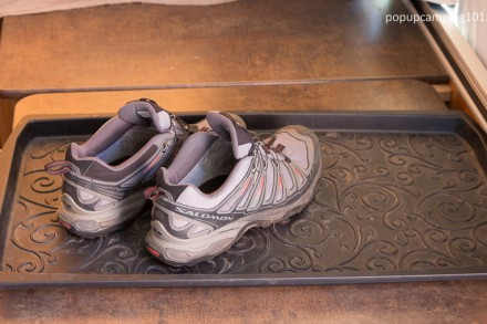 shoe tray inside popup camper