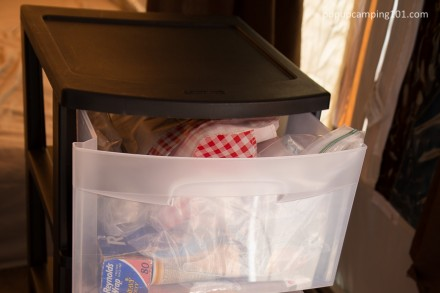 plastic drawer cart inside popup camper