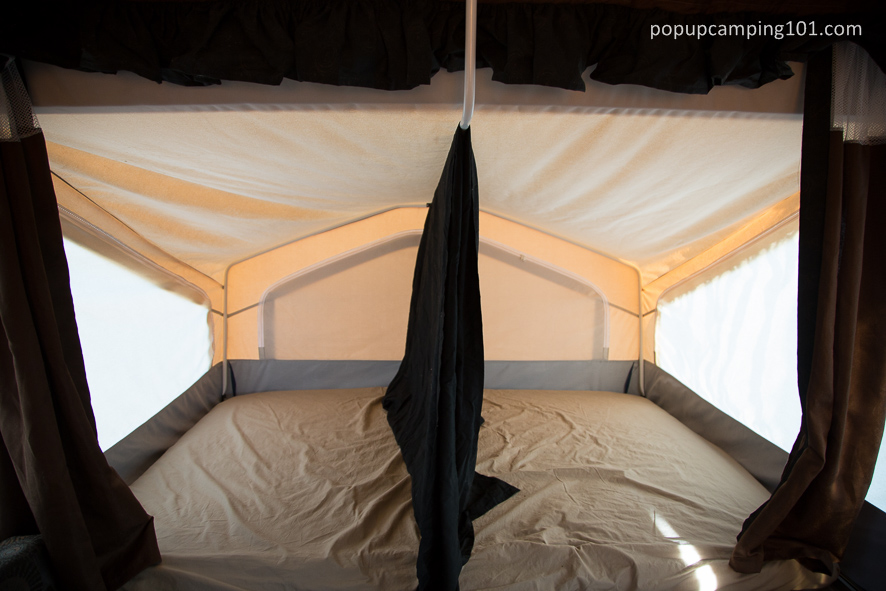 sheet as a bunk divider in popup camper