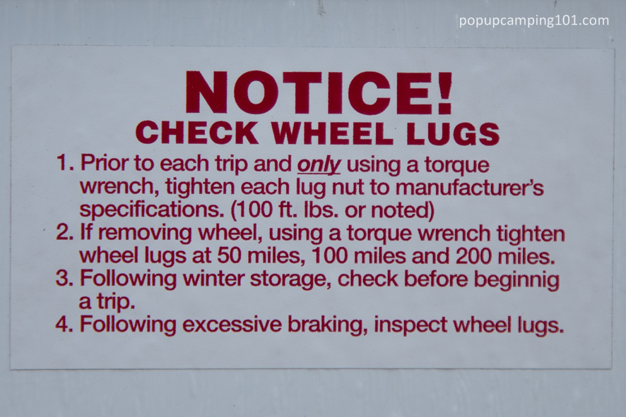check wheel lugs notice on RV