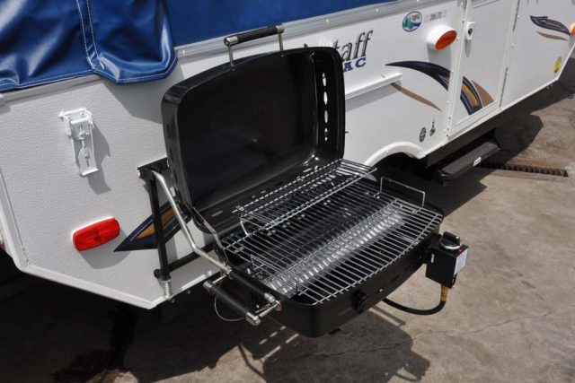 BBQ grill on popup camper